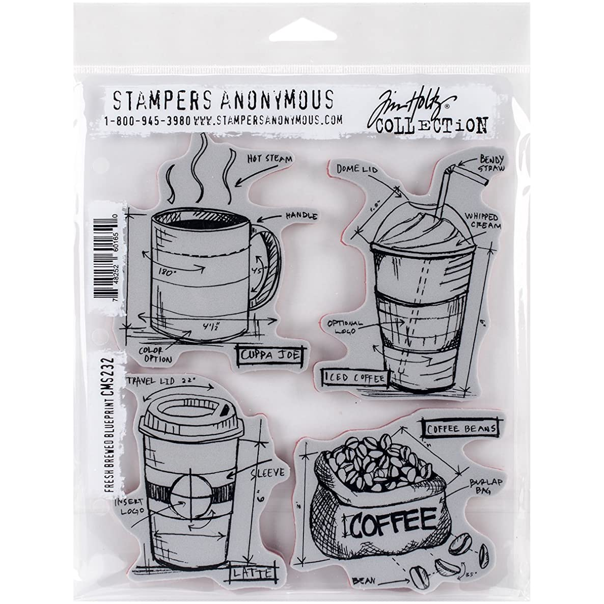 Stampers Anonymous Tim Holtz Cling Rubber Fresh Brewed Blueprint Stamp Set, 7 x 8.5
