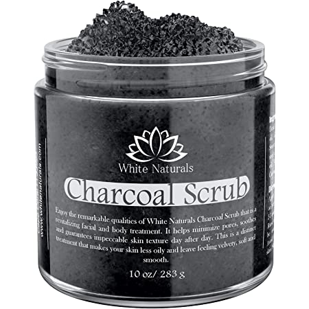 ONE DAY SALE! Activated Charcoal Scrub By White Naturals: Face & Body scrub, Reduces Wrinkles, Blackheads & Acne Scars, Natural Skin Care, Organic Pure Vegan Scrub Wash For Skin Exfoliation& Detox