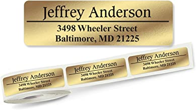 Gold Foil Conventional Front & Center, Lined Rolled Address Labels Roll of 250