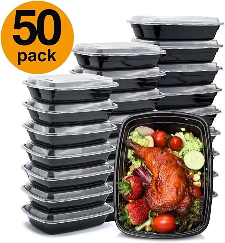 Glotoch Meal Prep Containers 32ounce Containers Single 1 Compartment With Lids Food Storage Containers Bento Box Microwave Freezer Dishwasher Safe Lunch Containers 50