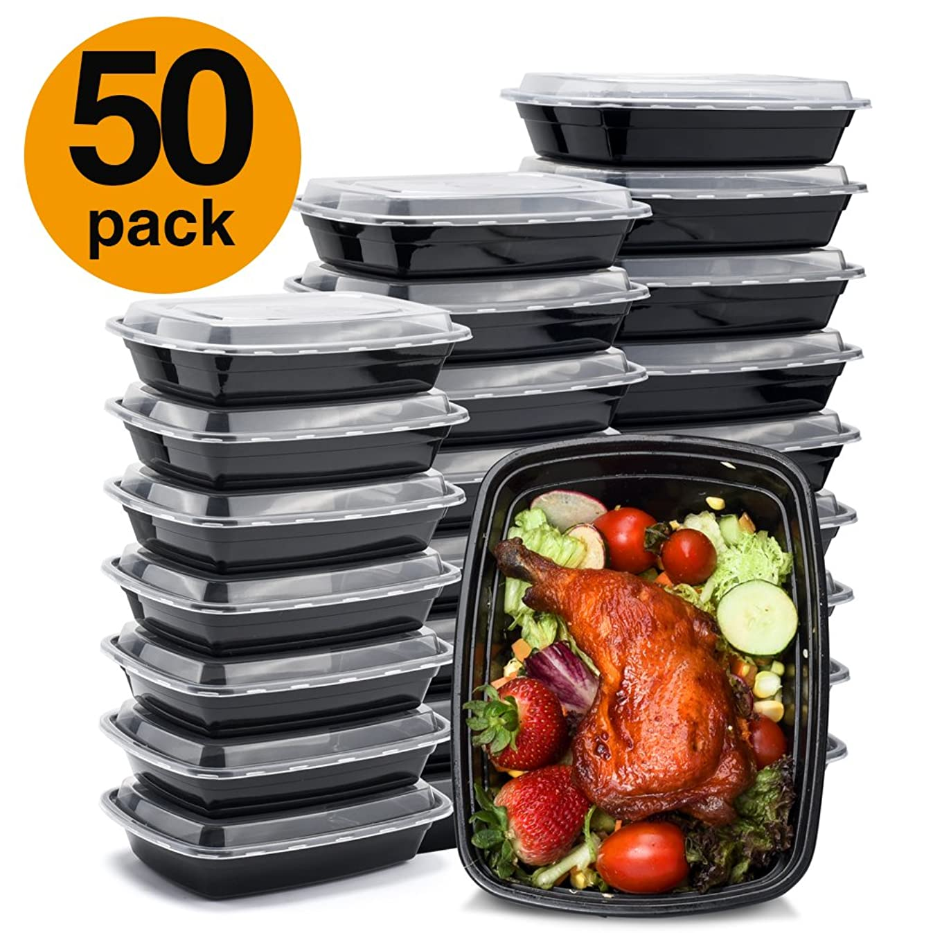 Glotoch Meal Prep Containers 32ounce Containers Single 1 Compartment with Lids Food Storage Containers Bento Box Microwave,Freezer,Dishwasher Safe Lunch Containers (50)