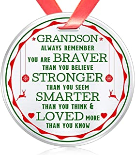 Best Elegant Chef Christmas Ornament for Grandson- Always Remember You are Braver Stronger Smarter- Motivational Inspirational Gift from Grandma Grandpa- Holidays Decoration- 3 inch Flat Stainless Steel Review