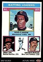 1976 Topps # 192 AL Batting Leaders Rod Carew / Fred Lynn / Thurman Munson Twins / Yankees / Red Sox (Baseball Card) Dean's Cards 5 - EX Twins / Yankees / Red Sox