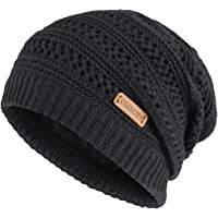 Omechy Unisex Slouchy Beanie Winter Warm Knit Skull Fleece Ski Cap (Black)