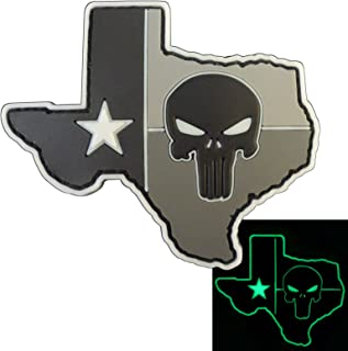 LEGEEON Glow Dark ACU Punisher Texas Lone Star DEVGRU PVC Rubber Morale Hook-and-Loop Patch