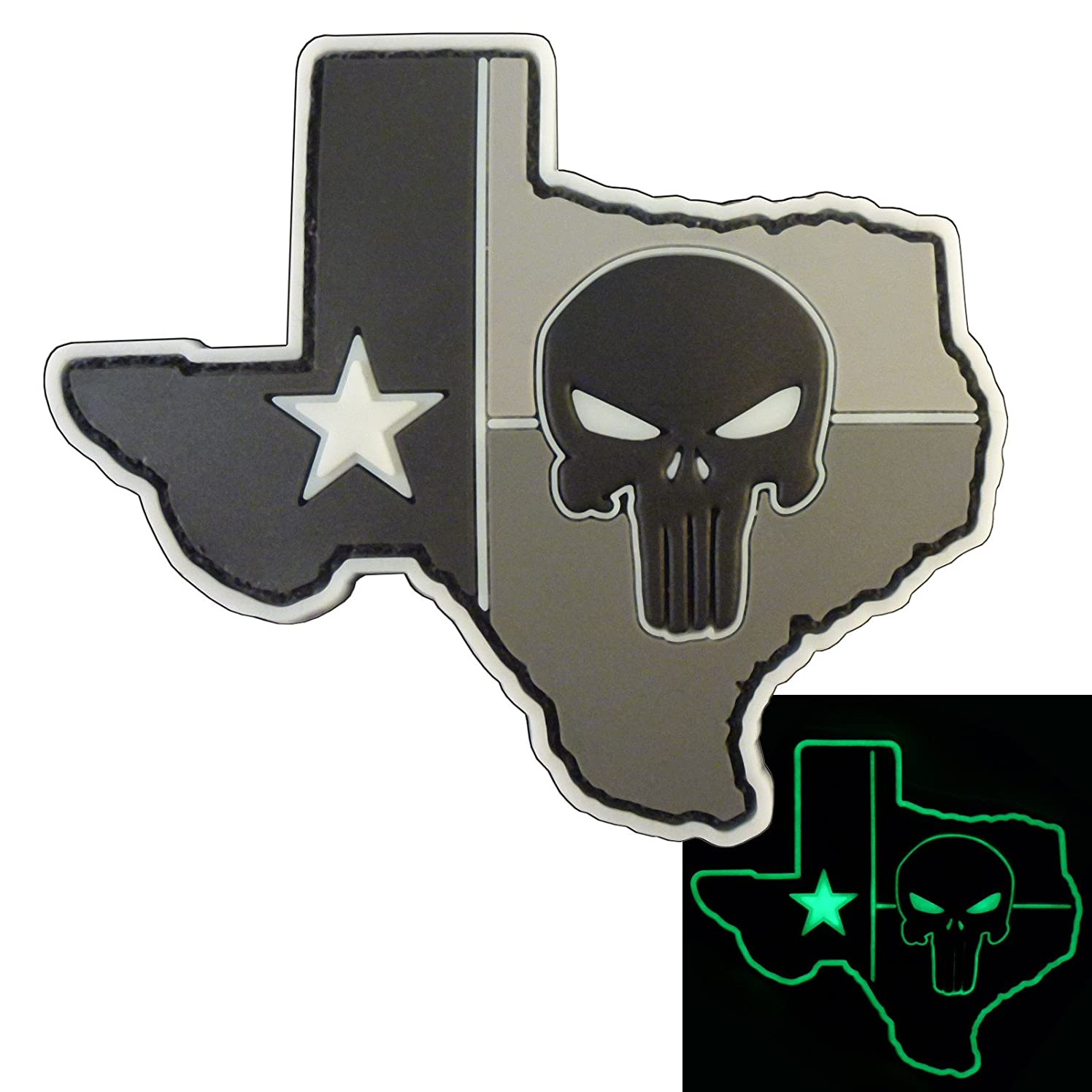 LEGEEON Glow Dark ACU Punisher Texas Lone Star DEVGRU PVC Rubber Morale Hook&Loop Patch