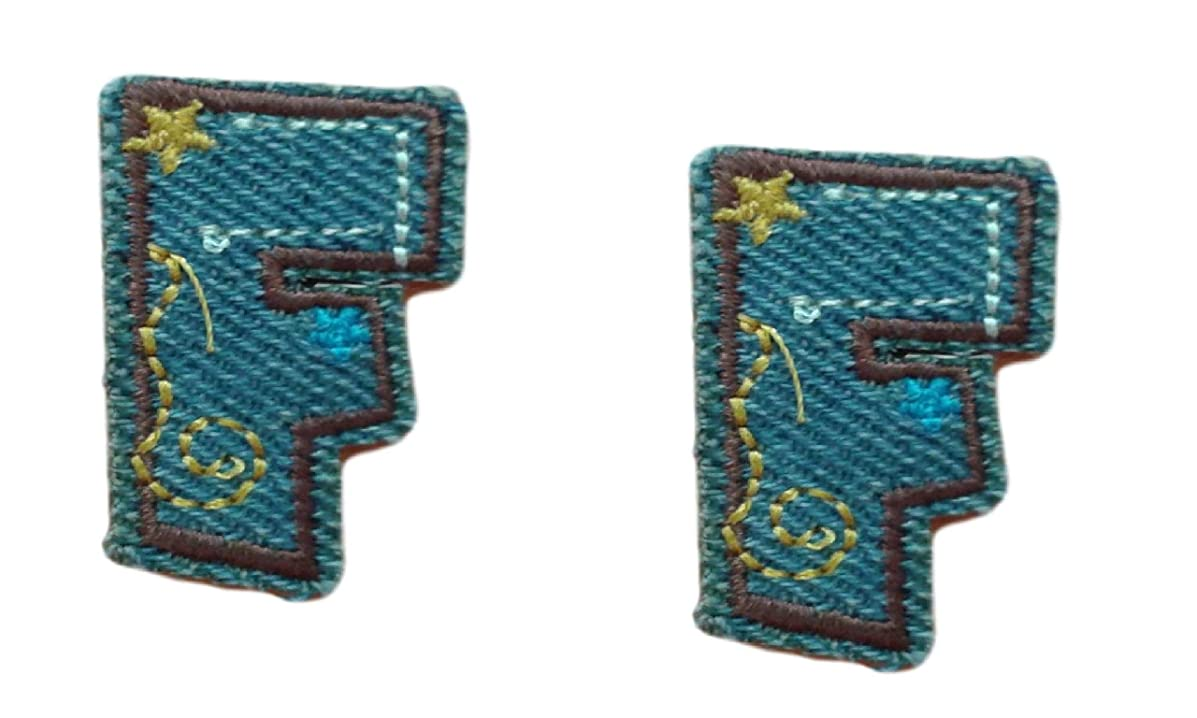 (2) Small Denim Letter F Iron On Patch Applique Motif Alphabet Symbol Scrapbooking Decal 1.4 x 0.8 inches (3.5 x 2 cm)