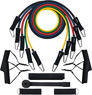 Mpow 15 PCS Resistance Bands Set with 4 Wide Handles, Resistance Bands with Door Anchor, Ankle Straps, User Manual, Carry Bag, 150 LBS Anti-snap Exercise Bands for Men, Women, Exercise at Home Gym