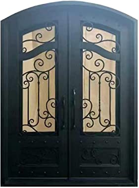 ALEKO IDR7296BK14 Iron Arched Top Dimensional-Panel Dual Door with Frame and Threshold 96 x 72 Inches Matte Black