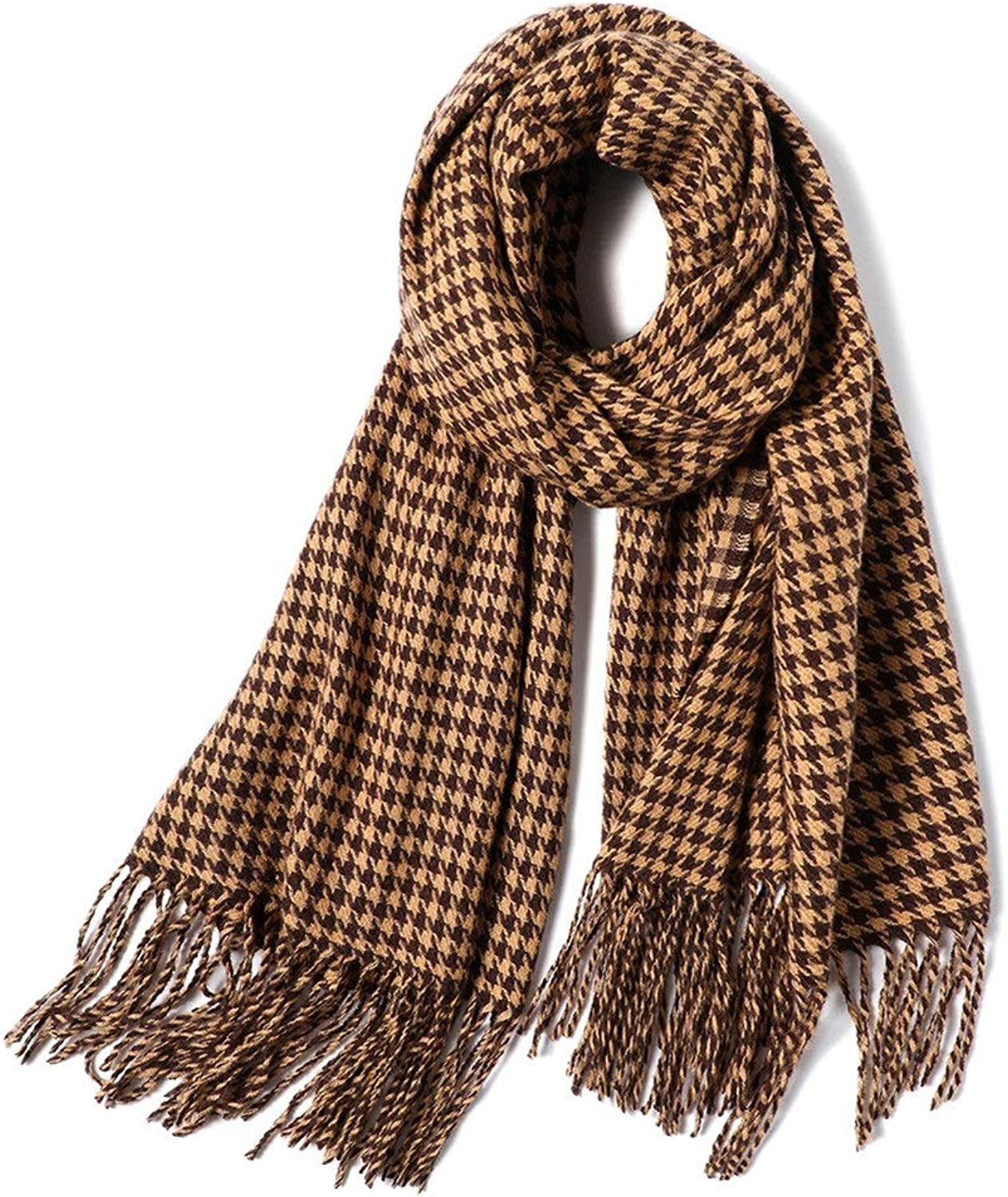 Ladies Houndstooth Scarf DoubleSided Warm Soft Scarf Shawl (color   Brown)