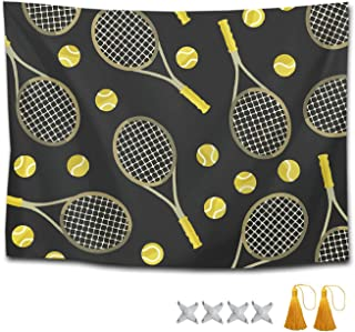 CXLETTI Funny Tennis Racquets Balls Mandala Boho Hippie Tapestry Bedspread for Bedroom Home Decor,Picnic