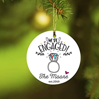 Engaged Decoration - We're Egaged The Moore 2019 - Ornament With The Last Name Best Gift Ideas Engagement Christmas Ornament Gift For Her For Him - 1 Sided Design 3