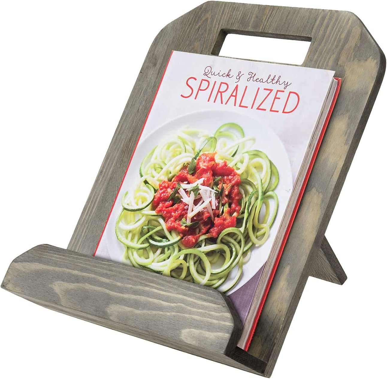 MyGift Vintage Gray Wood Cookbook Stand Cutting Board Shaped Kit
