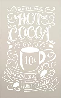 "Hot Cocoa Stencil by StudioR12 | Reusable Mylar Template | Typography, Word Art, Painting, Chalk | Use for Crafting Christmas | Winter Farmhouse Style Wood Signs | Select Size (10"" x 16"")"