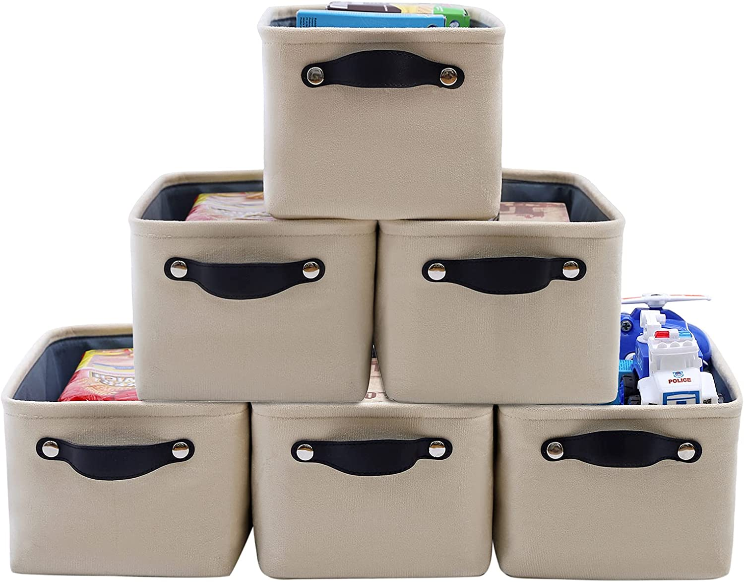 FENQDOOU Storage Bins, Open Storage Basket with Sturdy Handles,Collapsible 6 Pack Storage Box Suitable for Home, Closet, Office, Nursery ,Shelf 12.2x8.2x6.2 inches(Beige)