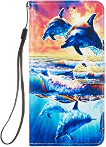 Sony Xperia Case  Reevermap Flip Protective Leather Wallet Card Holder Phone Cover for Sony Xperia with Magnetic Buckle Build-in Kickstand  Dolphin