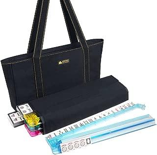 American Mah Jongg Set - 166 Premium Ivory Tiles, 4 All-In-One Rack/Pushers, Black Canvas Bag