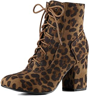 Women's Lace up Chunky Heel Ankle Booties
