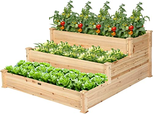 lowest Giantex 3 wholesale Tier Raised Garden Bed, Outdoor Planter Box Vegetable Flowers Growing Box, Elevated Raised Bed high quality Kit, Wood Planting Container, 49''x49''x22 (LxWxH) online