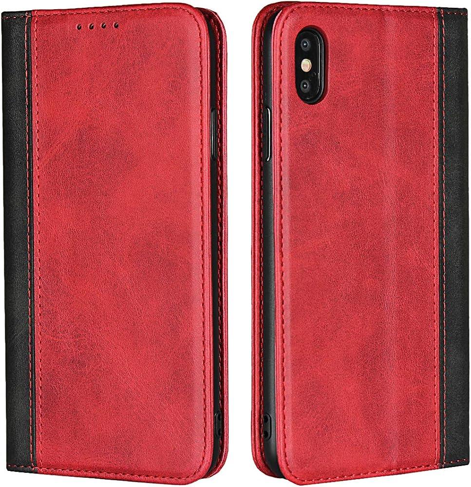 Copmob portafoglio porta carte di credito custodia per iphone xs max in pelle Psxnw ixs max Red+Black