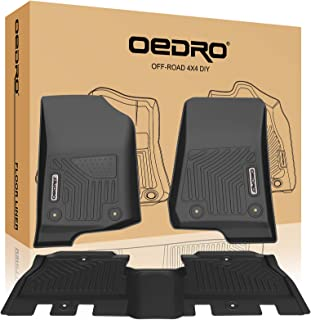 oEdRo Floor Mats Compatible for 2018-2019 Jeep Wrangler JL 4-Door, Unique Black TPE All-Weather Guard Includes 1st and 2nd Row: Front, Rear, Full Set Liners