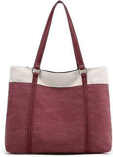 JANSBEN Damen Handtasche Schultertasche Canvas Casual Groß Tasche Shopper Elegant für Büro Schule Arbeit Rosa