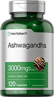 Ashwagandha Capsules   3000 mg   120 Count   Maximum Strength   2 Month Supply   Non-GMO & Gluten Free   by Horbaach