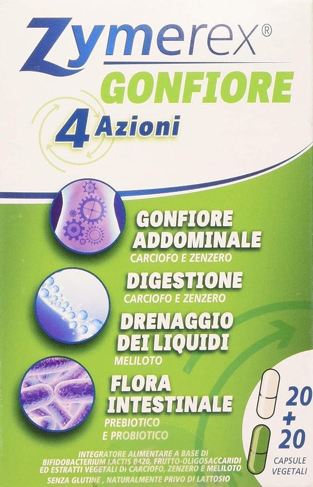 Zymerex gonfiore, 4 azioni 20 piu`20 compresse, con prebiotici e probiotici