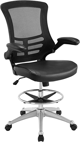 Modway Attainment Drafting Chair In Black Tall Office Chair For Adjustable Standing Desks Drafting Stool With Flip Up Arm Drafting Table Chair