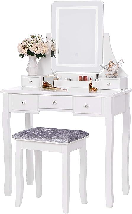 Tavolo cosmetici vanity toeletta led toletta tavolino da trucco con sgabello anwbroad B08HV1BRTL
