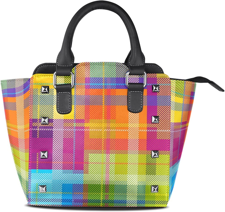 My Little Nest Women's Top Handle Satchel Handbag colorful Plaid Ladies PU Leather Shoulder Bag Crossbody Bag