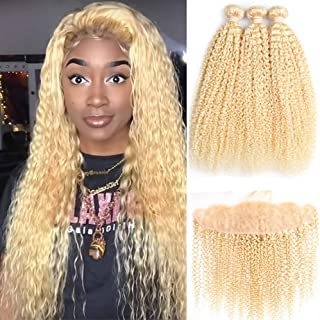 ALOT 613 Bundles with Frontal Blonde Curly Human Hair 3 Bundles and Lace Frontal Malaysian Kinky Curly Honey Blonde Hair Transparent Color Lace with Baby Hair Can Be Dyed (101010+10
