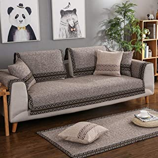 QQXX Sectional Sofa Hug Pillowcase Four Seasons Furniture Protection for pet Children slipcovers L-Shaped U-Shaped Non-Slip Thick Cotton and Linen Sofa slipcover-1