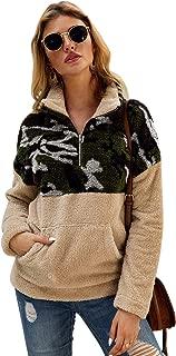 Glamaker Women's Fashion Color-Block Warm Long Sleeve Fleece Sherpa Sweatshirt Zipper Pullover Jacket Tops with Pocket