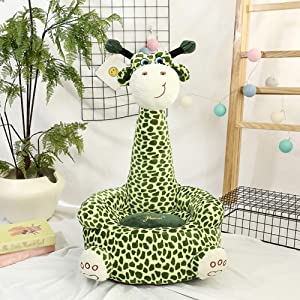 sofa Cute giraffe Shape Kids Chair Soft Plush Toddler Armchair Toddler Furniture for Living Room Bedroom 45cm Green