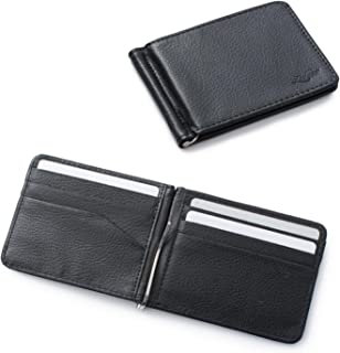 Zodaca Bifold Leather Wallet ID Card Business Card Case Credit Card Holder [Lightweight] [Travel-friendly] with Removable Bank Note Money Clip For Men, Black