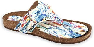 Colour Me Mad Blue Printed, Natural Cork, Washable, All Weather, Vegan, Made in India, PETA Certified, Changeable Insole, Women Sandals