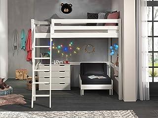 Vipack Lit mezzanine avec surface de couchage 140 x 200 cm avec lit de fauteuil et tiroirs et commode en pin massif laqué ...