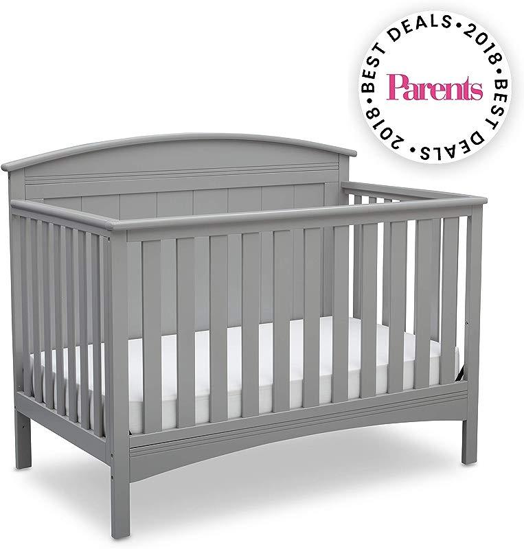 Delta Children Archer Solid Panel 4 In 1 Convertible Baby Crib Grey