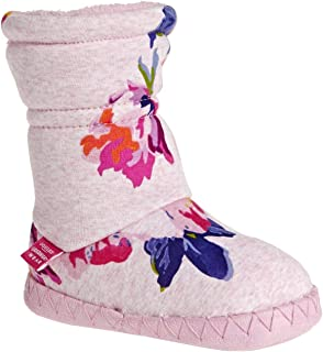 Joules Kids Baby Girl's Fleece Lined Slippersock (Toddler/Little Kid) Pink Marl Granny Floral LG (1-3 Little Kid) M