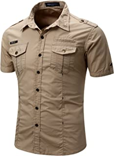 T1992S Men's Quick-Dry Long/Short Sleeve Fishing Shirts for Work Travel Military