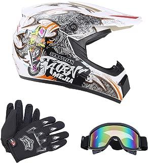 Senhill DOT Motocross Helmet Unisex Offroad Helmet Dirt Bike ATV Motorcycle Helmet Gloves Goggles