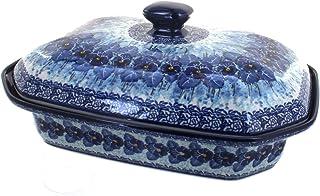 Blue Rose Polish Pottery Joanna Large Covered Baking Dish