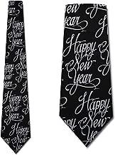 Happy New Year Tie Black formal Necktie by Three Rooker
