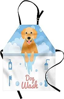 Ambesonne Golden Retriever Apron, Dog Washing in Bathtub Cartoon Foam and Soap Hygiene, Unisex Kitchen Bib with Adjustable Neck for Cooking Gardening, Adult Size, Orange Blue