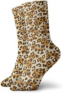 Estampado de leopardo Calcetines casuales transpirables Calcetines deportivos de viaje Yoga Caminar Ciclismo Correr Fútbol 30cm