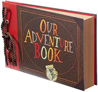 (Adventure Book) - Scrapbook Photo Album,Our Adventure Book Scrapbook, Photo Book,Embossed Words Hard Cover Movie Up Trave...