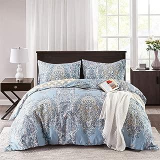 Villa Feel 1000TC Egyptian Cotton King Duvet Cover Paisley Print - Reversible Damask Medallion Percale Duvet Cover Set-3pcs Bed Linen Quilt Cover-Cotton Soft Breathable Bedding(King,Light Blue Floral)