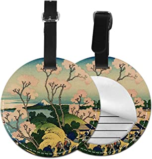 Cruise Luggage Tag With Adjustable Wrist Strap - Hokusai Japan Ink Cherry Blossom Mount Fuji Suitcase Labels For Women Men, Privacy Bag Tags Baggage Name Tags Suitcase Tag Lables