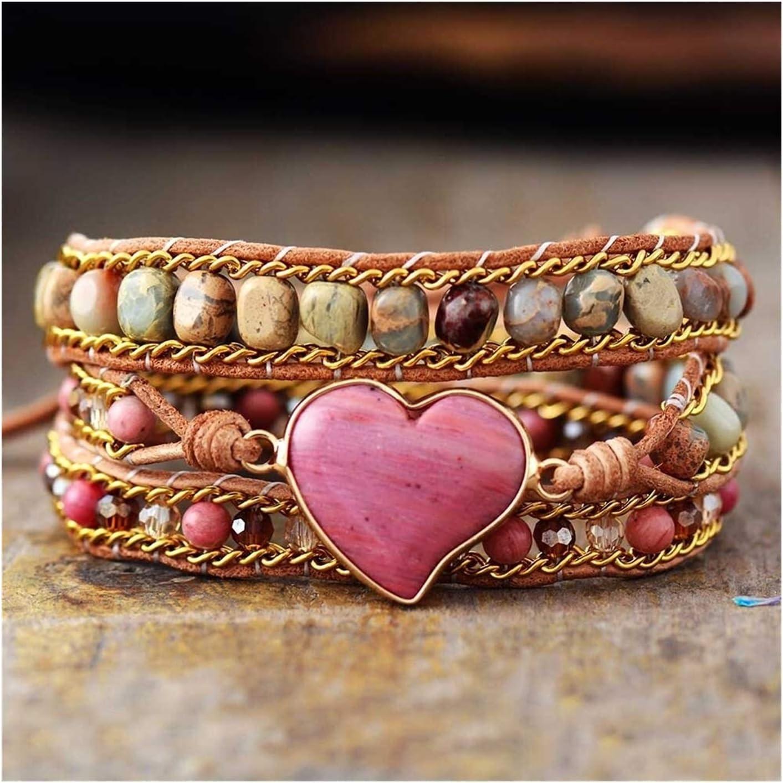 AOSUAI Luxury Heart Shape outlet Wrap Jaspers Complete Free Shipping 3 Crystal Stran Bracelets